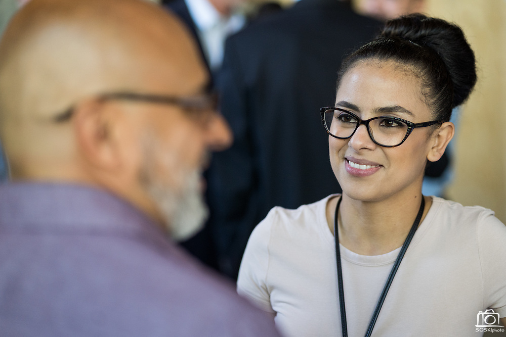 Katty Cortez of Verizon Wireless networks during SVBJ's BizMix presented by SWENSON at The Grad in Downtown San Jose, California, on July 31, 2019. (Stan Olszewski for Silicon Valley Business Journal)