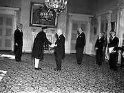 12/08/1952<br /> 08/12/1952<br /> 12 August 1952<br /> Mr B.G. Kher, Indian Ambassador to Ireland presents his Credentials to President Sean T. O'Kelly at Aras an Uachtaran. Frank Aiken, Minister for External Affairs is to the right of the President.