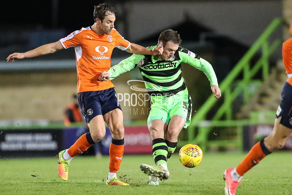 Forest Green Rovers Lee Collins(5) clears the ball during the EFL Sky Bet League 2 match between Forest Green Rovers and Luton Town at the New Lawn, Forest Green, United Kingdom on 16 December 2017. Photo by Shane Healey.