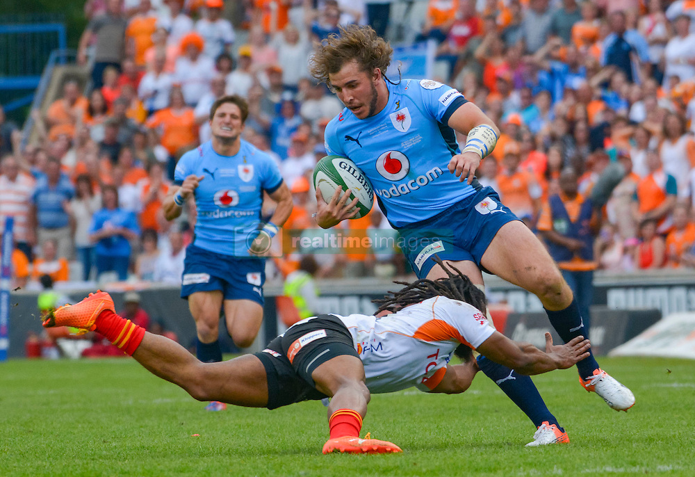 Burger Odendaal of the Blue Bulls and Sergeal Petersen of the Free State Cheetahs during the Currie Cup Final between the The Free State Cheetahs and Blue Bulls held at Toyota Stadium (Free State Stadium), Bloemfontein, South Africa on the 22nd October 2016<br /> <br /> Photo by:   Frikkie Kapp / Real Time Images