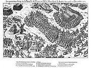 French Religious Wars 1562-1598. Fourth charge at the battle of Dreux, 19 December 1562.  Constable of France, Anne de Montmorency (1493-1567) leader of the Catholic forces and Louis, Prince de Conde (1530-1569) both taken prisoner and Jacques d'Albon, Marshal Sainte Andre was murdered after falling into Huguenot hands.   Very heavy casualties on both sides. Engraving by Jacques Tortorel (fl1568-1590) and Jean-Jacques Perrissin (c1536-1617) from their series on the Huguenot Wars, c1570.
