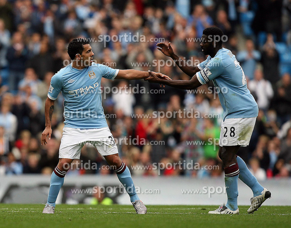 25.09.2010, City of Manchester Stadium, Manchester, ENG, PL, Manchester City vs Chelsea FC, im Bild Manchester City's Carlos Tevez is substitures , here with Manchester City's Dedryck Boyata, EXPA Pictures © 2010, PhotoCredit: EXPA/ IPS/ M. Atkins *** ATTENTION *** UK AND FRANCE OUT! / SPORTIDA PHOTO AGENCY