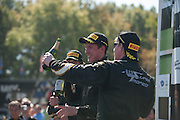 October 3-5, 2013. Lamborghini Super Trofeo - Virginia International Raceway. Podium celebrations for race 2 at VIR.