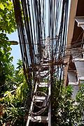 Laos, Vientiane. Electric cables.