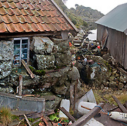 Messy fishing-tackle after the storm outside an old Norwehian boat-house.