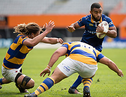 Otago's Jona Nareki, right, makes a run against Bay of Plenty in the Mitre 10 Cup rugby match, Forsyth Barr Stadium, Dunedin, New Zealand, Oct. 7 2017.  Credit:SNPA / Adam Binns ** NO ARCHIVING**