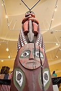 USA, Alaska, A totem pole on view at the Wrangell Museum, Wrangell.