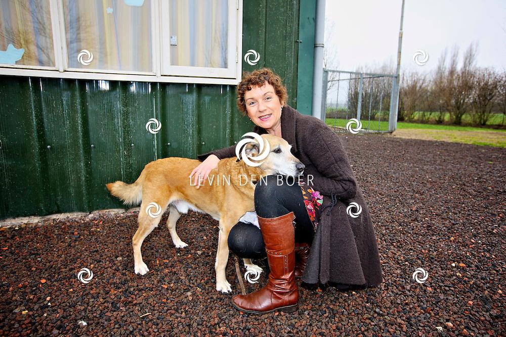 BRUCHEM - Bij het dierenasiel is mevrouw Diana van der Haar geportretteerd met haar hond. Dit omdat ze vrouw van het jaar 2012 is geworden met haar inzet voor mens en dier. FOTO LEVIN DEN BOER - PERSFOTO.NU