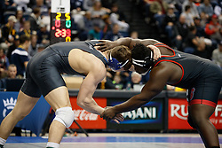 2018 January 02: Jacob Kasper of Duke Blue Devils wrestling winning the Southern Scuffle 285 weight class on Tuesday, January, 2, 2018 at McKenzie Arena in Chattanooga, TN.<br /> <br /> Jacob Kasper (Duke) DEC Mike Boykin (NC State), 5-1 SV