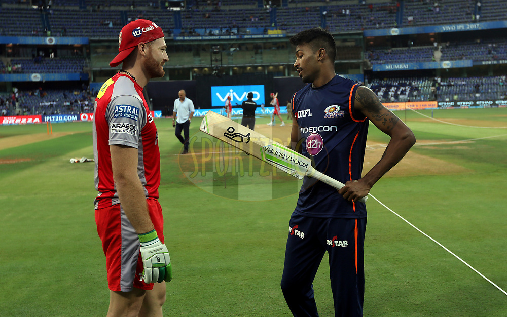 Martin Guptill of Kings XI Punjab and Hardik Pandya of the Mumbai Indians before the start of the match 51 of the Vivo 2017 Indian Premier League between the Mumbai Indians and the Kings XI Punjab held at the Wankhede Stadium in Mumbai, India on the 11th May 2017<br /> <br /> Photo by Sandeep Shetty - Sportzpics - IPL