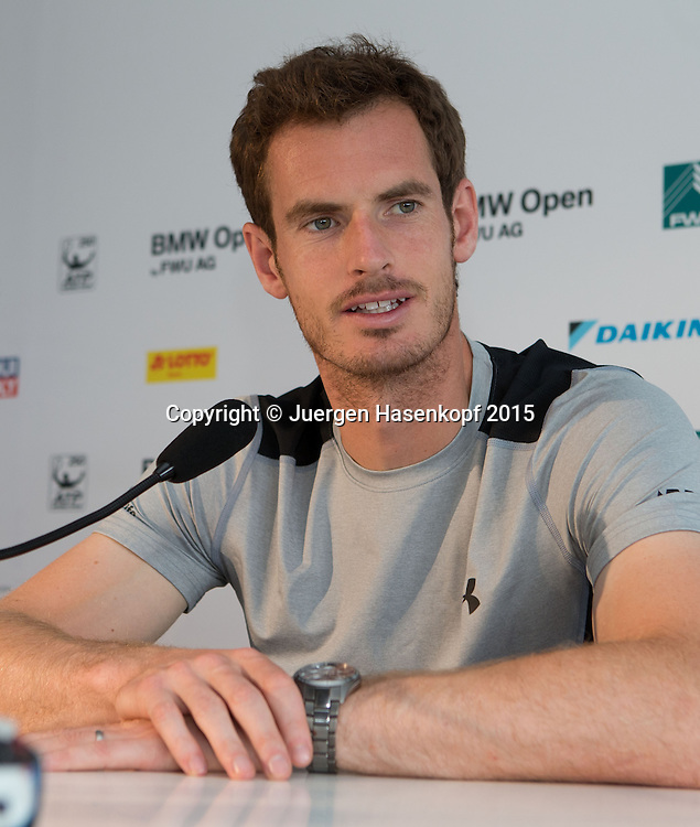 Andy Murray (GBR) Pressekonferenz<br /> <br /> Tennis - BMW Open - ATP -   MTTC Iphitos - Muenchen -  - Germany  - 26 April 2015. <br /> &copy; Juergen Hasenkopf