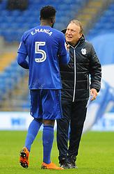 Cardiff City manager Neil Warnock praises Bruno Ecuele Manga of Cardiff City- Mandatory by-line: Nizaam Jones/JMP- 30/03/2018 -  FOOTBALL -  Cardiff City Stadium- Cardiff, Wales -  Cardiff City v Burton Albion - Sky Bet Championship