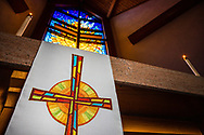 The altar and chancel stained glass with parament on Wednesday, May 13, 2020, at St. Paul's Lutheran Church, Columbia, Ill. LCMS Communications/Erik M. Lunsford