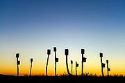 Birdhouses placed in a salt marsh, Sandwich, Cape Cod, Massachusetts, USA.