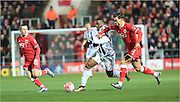 Victor Anichebe, Marlon Pack,  during the The FA Cup Third Round Replay match between Bristol City and West Bromwich Albion at Ashton Gate, Bristol, England on 19 January 2016. Photo by Daniel Youngs.