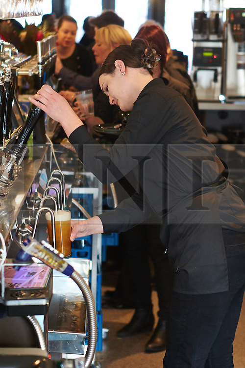 © Licensed to London News Pictures.  21/01/2014. BEACONSFIELD, UK. A staff member pulls a pint at the Hope & Champion pub, operated by Wetherspoons, in the Beaconsfield service station next to the M40. The pub is the first in the country located in a motorway service station and opens despite road safety organisations raising significant concerns. Photo credit: Cliff Hide/LNP