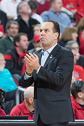 Notre Dame head coach Mike Brey. <br /> <br /> The University of Louisville hosted the Notre Dame, Wednesday, March 04, 2015 at Yum Center in Louisville. <br /> <br /> Photo by Jonathan Palmer