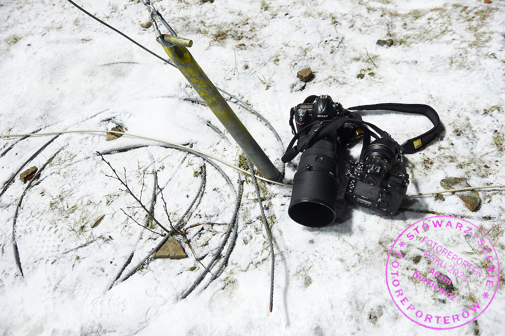 Nikon cameras lie on the snow during FIS World Cup Ski Jumping competition in Wisla, Poland on January 15, 2015.<br /> <br /> Poland, Wisla, January 15, 2015.<br /> <br /> Picture also available in RAW (NEF) or TIFF format on special request.<br /> <br /> For editorial use only. Any commercial or promotional use requires permission.<br /> <br /> Mandatory credit:<br /> Photo by &copy; Adam Nurkiewicz / Mediasport