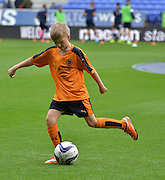 wolves mascot has a kick about before the Sky Bet Championship match between Bolton Wanderers and Wolverhampton Wanderers at the Macron Stadium, Bolton, England on 12 September 2015. Photo by Mark Pollitt.
