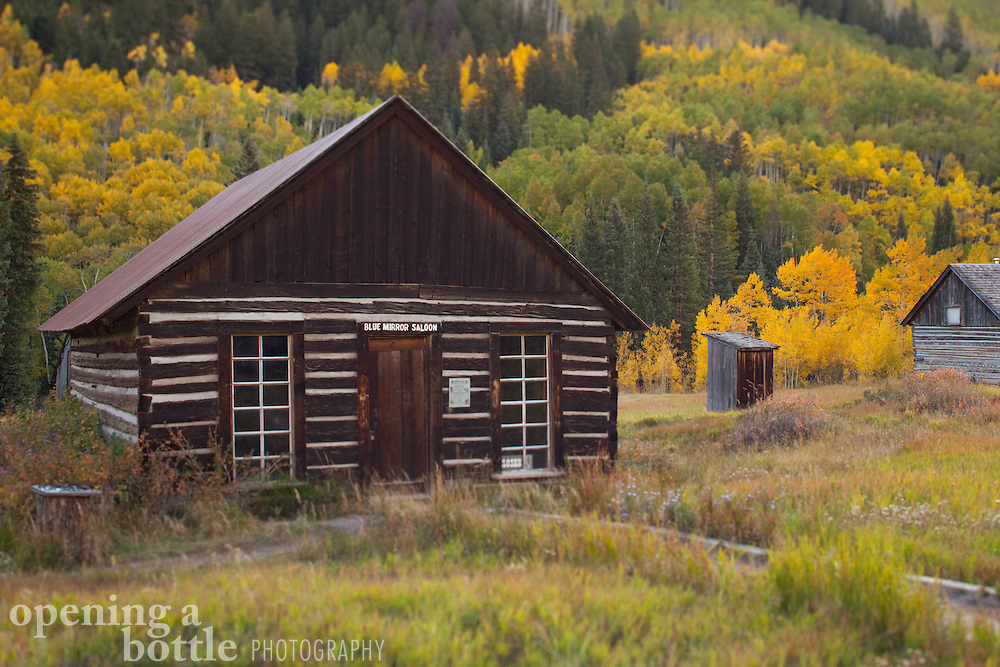Fall color and the abandoned buildings of Ashcroft Historic Site, a ghost town located south of Aspen, Colorado.