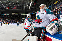 KELOWNA, CANADA - JANUARY 4:  James Porter #1 of the Kelowna Rockets climbs over the boards to return to the net after the penalty against the Prince George Cougars on January 4, 2019 at Prospera Place in Kelowna, British Columbia, Canada.  (Photo by Marissa Baecker/Shoot the Breeze)