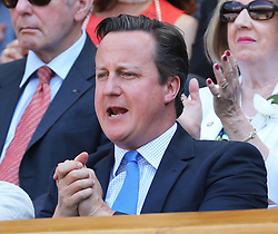 Prime Minister David Cameron cheers Andy Murray from the Royal Box at the start of  the Men's Final at the Wimbledon Tennis Championships in  London, Sunday, 7th July 2013<br /> Picture by Stephen Lock / i-Images