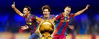 Fotball<br /> Barcelona<br /> Foto: Dppi/Digitalsport<br /> NORWAY ONLY<br /> <br /> FOOTBALL - MISCS - FIFA BALLON D'OR 2010 - PREVIEW - 16/12/2010<br /> <br /> Xavi - Messi - Iniesta