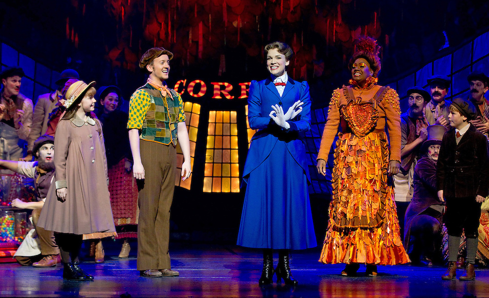 Caitlin Marks as Jane Banks, left, Matt Lee as Bert, Rachel Wallace as Mary Poppins, Leah Howard as Mrs Corey and Beau Woodbridge as Michael Banks with the ensemble perform the song Supercalifragilisticexpialidocious in the media call of the stage show Mary Poppins, Civic Theatre, Auckland, New Zealand, Wednesday, October 17, 2012.   Credit: SNPA / David Rowland