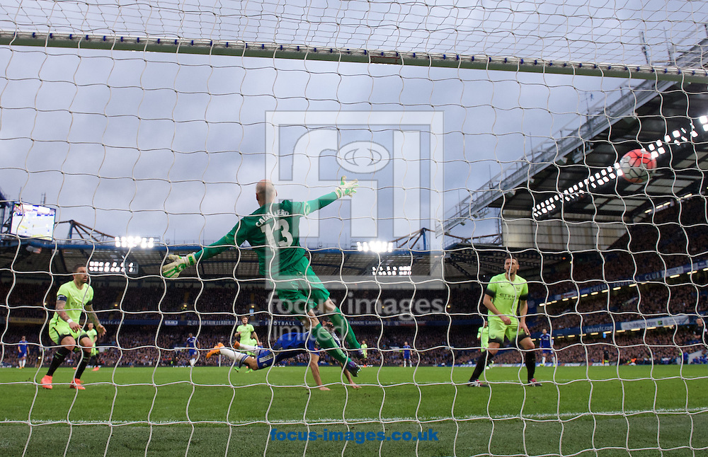 Diego Costa of Chelsea scores the opening goal with a diving header past goalkeeper Wilfredo Caballero during the FA Cup match at Stamford Bridge, London<br /> Picture by Alan Stanford/Focus Images Ltd +44 7915 056117<br /> 21/02/2016