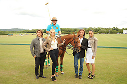 Asprey World Class Cup polo held at Hurtwood Park Polo Club, Ewhurst, Surrey on 17th July 2010.<br /> Picture shows:- Michelle Malenotti, Elizabeth Minetti, Kenney Jones, Maria Critchell & Manuele Malenotti,