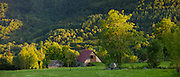 Traditional barn near Auchun in the Pyrenees National Park, France