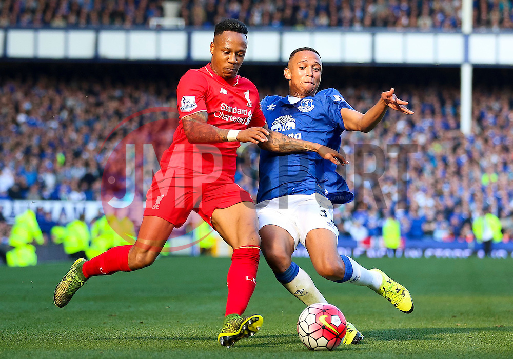 Nathaniel Clyne of Liverpool and Everton's Brendan Galloway  - Mandatory byline: Matt McNulty/JMP - 07966 386802 - 04/10/2015 - FOOTBALL - Goodison Park - Liverpool, England - Everton  v Liverpool - Barclays Premier League