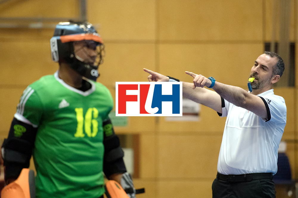 BERLIN - Indoor Hockey World Cup<br /> Kazakhstan - Poland<br /> foto: Umpire MARTINEZ Luis<br /> WORLDSPORTPICS COPYRIGHT FRANK UIJLENBROEK