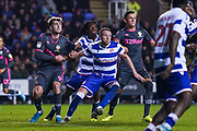 Leeds United forward Patrick Bamford (9) and Leeds United defender Ben White (5) in action during the EFL Sky Bet Championship match between Reading and Leeds United at the Madejski Stadium, Reading, England on 26 November 2019.