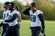 Philadelphia Eagles Jordan Hicks LB (58) during the press, training and media day for Philadephia Eagles at London Irish Training Ground, Hazelwood Centre, United Kingdom on 26 October 2018. Picture by Jason Brown.