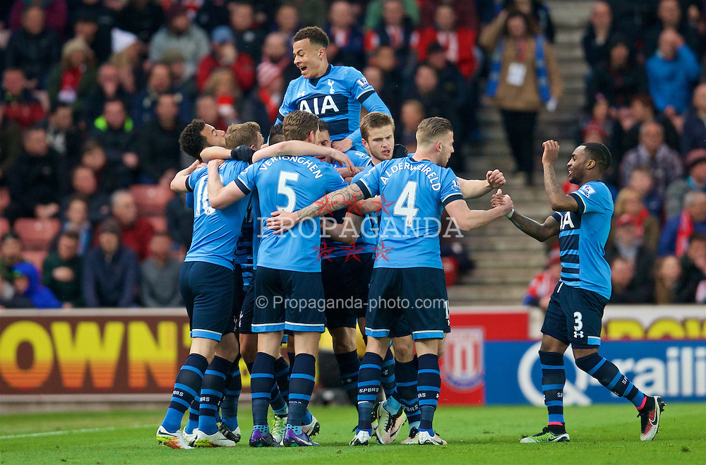 STOKE-ON-TRENT, ENGLAND - Monday, April 18, 2016: Tottenham Hotspur's Harry Kane [hidden] celebrates scoring the first goal against Stoke City during the FA Premier League match at the Britannia Stadium. (Pic by David Rawcliffe/Propaganda)