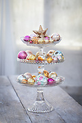 Baubles on a tierred glass cake stand
