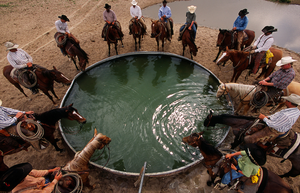 Ranch hands gather at the stock tank after a day of branding in the Sandhills of Nebraska.