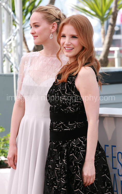 Jess Weixler and Jessica Chastain at the photo call for the film The Disappearance Of Eleanor Rigby at the 67th Cannes Film Festival, Sunday 18th May 2014, Cannes, France.