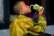 The last straw: a young girl drinks Beeber Bug brand guava juice, imported from Thailand. Wangdi Phodrang, Bhutan. Hungry Planet: What the World Eats (p. 288).