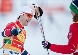 14.12.2013, Nordische Arena, Ramsau, AUT, FIS Nordische Kombination Weltcup, Langlauf Teamsprint, im Bild das Siegerteam Joergen Graabak (NOR) und Mikko Kokslien (NOR) // the Winnerteam Joergen Graabak (NOR) and Mikko Kokslien (NOR) during Team Sprint Cross Country of FIS Nordic Combined <br /> World Cup, at the Nordic Arena in Ramsau, Austria on 2013/12/14. EXPA Pictures © 2013, EXPA/ JFK