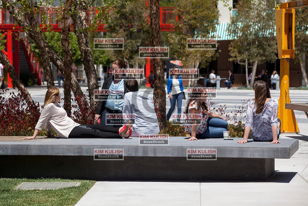 "Scenes of daily work and life at Facebook', Inc. USA Headquarters in Menlo Park, California.  Facebook employees and visitors relax in ""Hacker Square."""