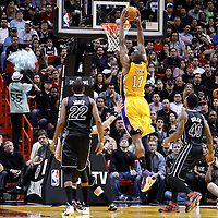 19 January 2012: Los Angeles Lakers center Andrew Bynum (17) dunks the ball during the Miami Heat 98-87 victory over the Los Angeles Lakers at the AmericanAirlines Arena, Miami, Florida, USA.