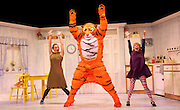 The Tiger Who Came to Tea <br /> by Judith Kerr <br /> directed by David Wood <br /> at the Lyric Theatre, London, Great Britain <br /> Press photocall <br /> 3rd July 2014 <br /> <br /> Abbey Norman as Sophie<br /> <br /> Jenanne Redman as Mummy<br /> <br /> Matthew Dudley as Tiger<br /> <br /> Photograph by Elliott Franks