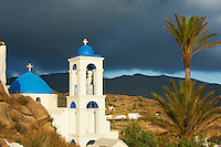Grèce, Les Cyclades, Ile de Ios, Hora, eglise au palmier // Greece, Cyclades, Ios island, Palm tree church