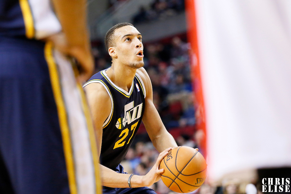 06 December 2013: Utah Jazz center Rudy Gobert (27) is seen at the free throw line during the Portland Trail Blazers 130-98 victory over the Utah Jazz at the Moda Center, Portland, Oregon, USA.