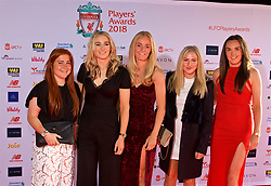 LIVERPOOL, ENGLAND - Thursday, May 10, 2018: Liverpool FC Ladies' Martha Harris, Laura Coombs, Sophie Ingle, xxxx and Caroline Weir arrive on the red carpet for the Liverpool FC Players' Awards 2018 at Anfield. (Pic by David Rawcliffe/Propaganda)