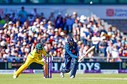 England ODI bowler Adil Rashid holes out to Australia ODI bowler Billy Stanlake  during the 5th One Day International match between England and Australia at Old Trafford, Manchester, England on 24 June 2018. Picture by Simon Davies.