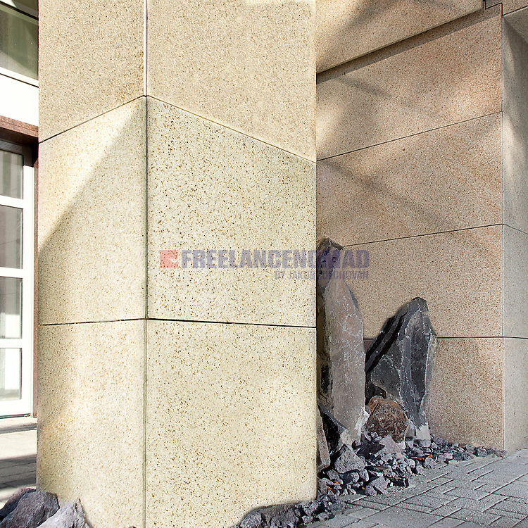 G682 Granite Padang Yellow wall and column facing exterior veneer panels realization detail