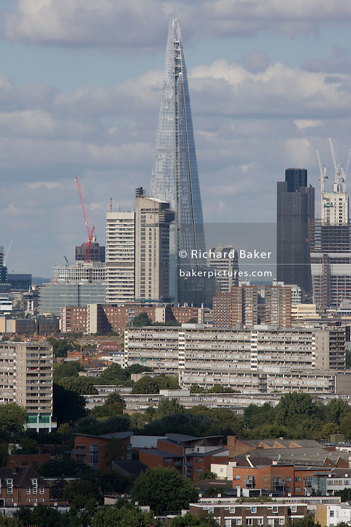 Aerial view of south London looking from Camberwell towards the City and the tall Shard.